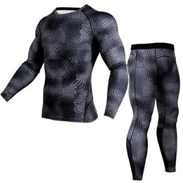 men compression running tights pants Canada - Two Piece Set Men Printed Compression Running Men's Sportswear Men Long Sleeve Tights Tops Pants Gym Fitness T Shirt And Pants