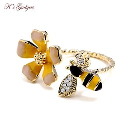$enCountryForm.capitalKeyWord NZ - K's Gadgets Yellow Lovely Flowers Enamel Jewelry Adjustable Rings New Girl Pop Ring Gold Color Small Bee Flowers Opening Ring