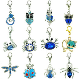 $enCountryForm.capitalKeyWord Canada - DIY Mix Sale Brand New High Quality Fashion Blue Crystal Dangle Owl Crab Animal Floating Lobster Clasp Charms For Jewelry Accessories