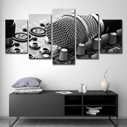 $enCountryForm.capitalKeyWord NZ - 5PCS Canvas HD Prints Pictures Framework 5 Pieces Music Microphone Paintings Home Wall Art Decor Living Room Mixing Consoles Posters