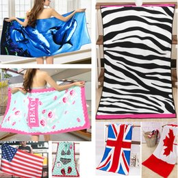Flag swimming online shopping - 12 Design Printed Flag Beach Towel Leopard Polyester Cotton Swimming Towel Shawl Pattern Sport Bath Towel cm WX9