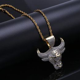 Discount ox gold pendant - New hip-hop Pendant Miniature zircons ox head pattern Personality Necklace Jewelry