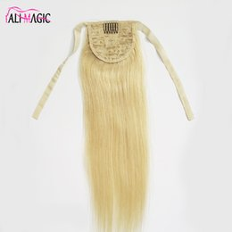 """Bleached Burgundy Hair Australia - 14""""-26"""" 100% Natural Brazilian Remy Ponytail Human Hair Extensions 100g #613 Bleach Blonde Color Clip In On Hair AliMagic Factory Outlet"""