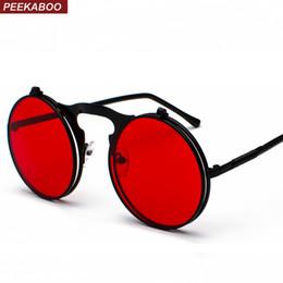 d5eae6dedfabf Peekaboo unisex retro steampunk sunglasses flip up green yellow red small  round summer style unisex sun glasses men women
