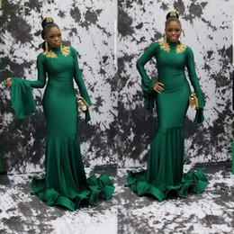 500b6b1287 Dark Green Prom Dresses With Gold Appliques High Neck Mermaid African Formal  Party Dresses Evening Wear Custom Long Sleeve Vintage Vestiods