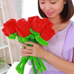 $enCountryForm.capitalKeyWord NZ - 34cm 1 5 10pcs Plush Toy Flower Wedding Flowers Red Rose Wedding Valentines Day Gift For Girls