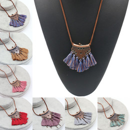 bohemian sweaters women NZ - Colorful Statement Fringed Necklace Bohemian Tassel Pendant Long Leather Rope Chain Necklace Sweater Chain Accessories For Women G962R