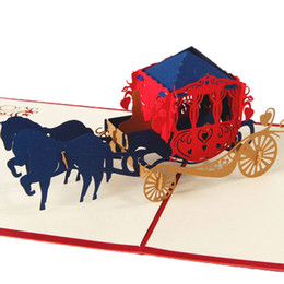 Kirigami Pop Up Card Love NZ - 3D Pop Up Paper Laser Cut Greeting Cards Creative Handmade Kirigami Wedding lnvitations Love Carriage Postcards Wishes Gifts