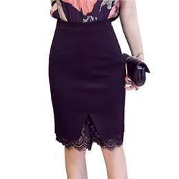 54e78e48e3f37 Plus Size Formal OL Office Lace Patchwork Solid Women Skirts Fashion  Elegant Stretch Pencil Ladies Midi Skirt