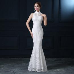 modern chinese wedding dress lace 2019 - Qipao White Lace Cheongsam Modern Chinese Traditional Wedding Dress Women Oriental Collars Sexy Long Qi Pao evening merm