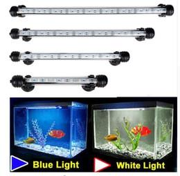 Tanque de peces de acuario 9/12/15/21 LED azul claro / blanco 18/28/38/48 CM Bar sumergible impermeable Clip de la lámpara decoración enchufe de la UE
