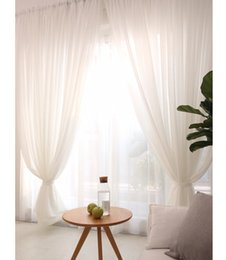 Wholesale linen white sheer curtains panel ready make 1.5M 2 M window curtain set for home decoration use