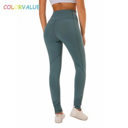 $enCountryForm.capitalKeyWord Australia - Colovalue High Waist Squatproof Fitness Workout Leggings Women Solid Stretchy Nylon Sport Gym Tights Plus Size Yoga Pants XS-XL