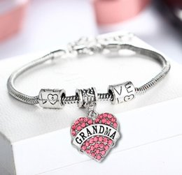 $enCountryForm.capitalKeyWord Australia - DHL Diamond Love Heart Bracelet Crystal Family Member Mom Daughter Grandma Teacher Believe Faith Hope Best Friend for Women Christmas Gift