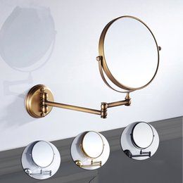 Extended Arm Mirror UK - 8 inch Bathroom Mirror Dual Arm Extend 2 Face Round Copper framed Make Up Mirror Chrome Wall Mounted 1x3x3 Magnifying