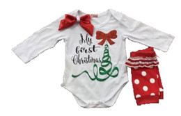 Wholesale 2pcs Christmas Set New Year Girls Letter Deer Bow Long Sleeve Romper Flower Dot Socks Set