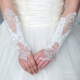 White Wedding Dresses Gloves Australia - Wholesale price bride wedding dress decorated gloves fingerless on satin stitch beads white factory direct spot