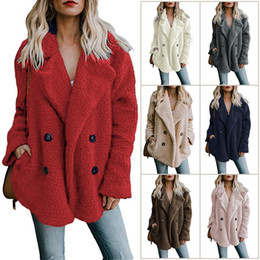 $enCountryForm.capitalKeyWord NZ - Lady large fleece coat jacket cardigan women plus size casual lapel neck long sleeve loose Loose suit Fur coat S-5XL