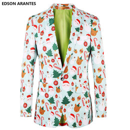 $enCountryForm.capitalKeyWord UK - Light Blue Blazer Mens Floral Suit Jackets Christmas Designs Costume For Party Santa Claus Christmas Tree Blazer Masculino Coats