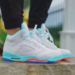 2018 5s Light Aqua 5 V Scarpe da pallacanestro da donna 440892-100 di alta qualità Uva Bianco Arancione Outdoor da donna Ragazza Trainer Sport Sneaker 36-40