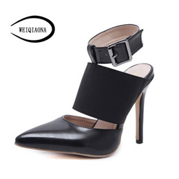 China WEIQIAONA 2018 New Shoes Women Summer High Heels Brand Design Buckle Sexy Model Style Party Shoes Dress Sandal Boots cheap wholesale new summer high boots suppliers