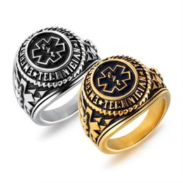 Vintage Cluster Rings Australia - Emergency Medical Technician Ring Men Gold Silver Color Stainless Steel Special Symbol for Male Doctor Nurse Vintage Statement Jewelry