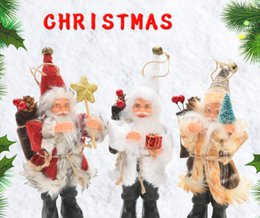 Wholesale Wholesales Christmas decorations standing posture flannel Santa Claus doll Christmas scene pendant furnishings gifts