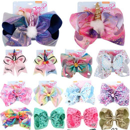 Wholesale 8 inch JOJO bow baby girl hair bows barrettes Rainbow Mermaid Unicorn Design Girl Clippers Girls Hair Clips JOJO SIWA Hair Accessory