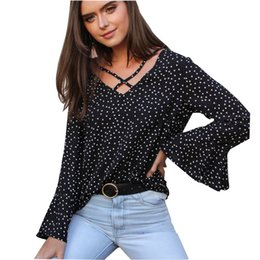 7f2590bd31bd3 New Women Loose V Neck Tops Ladies Long Sleeve Casual Dot Print Chiffon Holiday  Blouse Shirt Female Blusas Tunic Shirts Tops