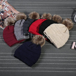 Wholesale Kids Adults Thick Warm Winter Hat For Women Soft Stretch Cable Knitted Pom Poms Beanies Hats Women's Skullies Beanies Girl Ski Cap