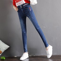 Discount womens trouser jeans - Fashion 2018 Womens Blue Jeans Skinny Trousers Full Length Feminino Slim Denim Women Casual Cuffs Pencil Pants