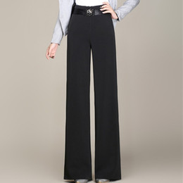 8605ce336ab67 High waist sashes wide leg pants for women black full length plus size  loose female trousers casual new fashion OL sy50804