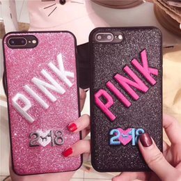 Designs For Iphone Cases Australia - PINK 2018 Phone Cases Fashion Design Glitter 3D Embroidery Love Pink For iPhone X 8 7 6 Plus For Samsung S9 Plus S9+ Phone Cover New Style