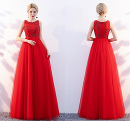 China New Red Elegant Formal Evening Dresses Dignified Atmosphere Round lace Bud Beads A Party Qi Prom Dresses Mother Of the Bride Dresses HY101 cheap bud lights suppliers