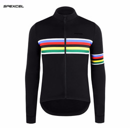 Bike New Jersey Free Shipping Australia - 2017 NEW SPEXCEL rainbow black winter thermal fleece Long Sleeve Cycling Jersey Bike Bicycle Wear Ropa Ciclismo free shipping