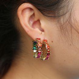$enCountryForm.capitalKeyWord Australia - Baguetee cz red passion Hoop Earrings For Women multi color stone Earring Fit wedding fashion rainbow big earing Jewelry 2018