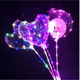 Wholesale Heart Shaped Balloon NZ - Love Heart LED Light Balloon BoBO Ball Luminous Transparent Hear Shape 3 Meters Balloons With Pole Toys for Valentine's Day Wedding Party