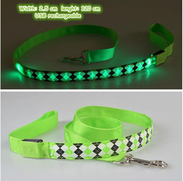 $enCountryForm.capitalKeyWord Australia - B07 Rhombus Pet dog LED leahses leads pet traction rope pull strap for dogs cats 120cm length battery and USB Rechargeable