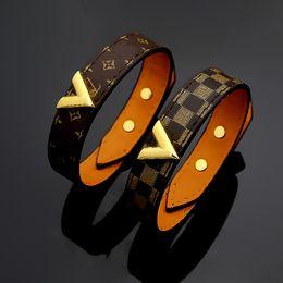 Fine men online shopping - New style Titanium steel genuine leather bracelets with gold V shape design for women and men flower pattern bracelet brand fine jewelry