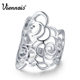 $enCountryForm.capitalKeyWord Australia - Viennois Brand New Silver Color Hollow Flower Rings For Women Party Size 7 8 9 Finger Ring Female Fashion Jewelry
