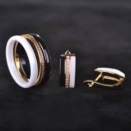 $enCountryForm.capitalKeyWord Australia - Blucome Women Luxury Ceramic Jewelry Sets Black White Zircon Earrings Ring Set Women Copper Wedding Bridal Bijoux With Gift Box