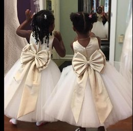 ce5c688f8f2 Spring Ankle Length Flower Girls Dresses For Weddings Back With Big Bow  Sash Satin Sash Kids Party Gowns Formal Wear First Communion Dress