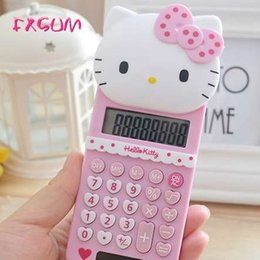 Promotional Electronics Australia - FXSUM New Cute Hello Kitty Basic Electronic Calculator Pink 8 Digitals Calculating School Stationery Portable Calculadora Gifts