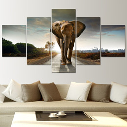 $enCountryForm.capitalKeyWord NZ - Modular Canvas Paintings Home Decor HD Prints Abstract Animal Pictures 5 Piece Africa Elephant Poster Living Room Wall Art Frame