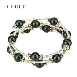 Charms Wire Wrapping Australia - CLUCI vintage black shell pearls wire wrap bracelet adjustable silver plated bracelet jewelry Women Bead Charm Bracelet Jewelry S18101507
