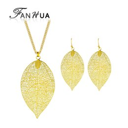 $enCountryForm.capitalKeyWord UK - FANHUA New Fashion Jewelry Sets Hollow Out Gold-Color Long Chain Leaf Pendant Necklace and Drop Earrings