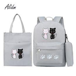 Cute Backpacks For Teenage Girls Australia - Fashion Composite Bag Korean Style Student Backpacks For Teenage Girls Bagpack School Bags 3 Set Cute Backpack Rucksack Tote Bag