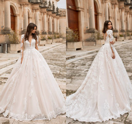 b3aeee6137 Naviblue Dolly Beach Wedding Dresses Deep V Neck Appliques A Line Long  Sleeve Lace Bridal Gowns Sweep Train Country Cheap Wedding Dress