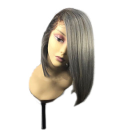 $enCountryForm.capitalKeyWord UK - Ombre Black To Silver Grey Wig side part Bob Wig Synthetic Lace Front Wig Heat Resistant Hair Short Wigs For Women
