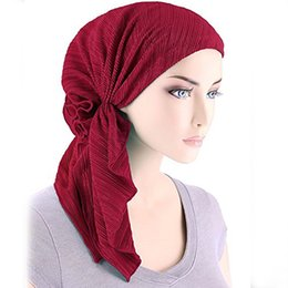 $enCountryForm.capitalKeyWord Australia - Women Muslim Stretch CottonTurban Hat Hair Loss Multifunctional Head Scarf Wrap for Woman AA10004